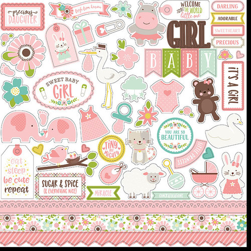 Echo Park - Sweet Baby Girl Collection - 12 x 12 Cardstock Stickers - Elements