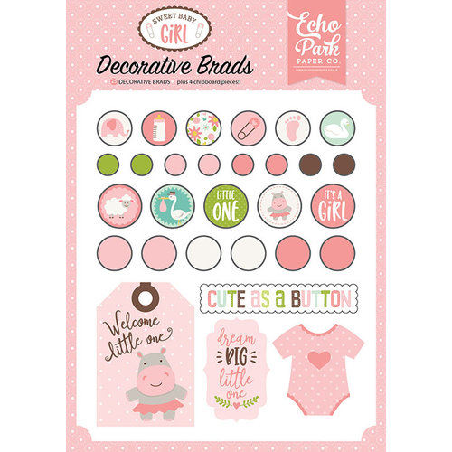 Echo Park - Sweet Baby Girl Collection - Decorative Brads