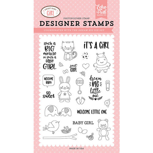 Echo Park - Sweet Baby Girl Collection - Clear Photopolymer Stamps - Dream Big Little One