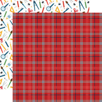 Echo Park - School Rules Collection - 12 x 12 Double Sided Paper - Student Plaid