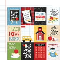 Echo Park - School Rules Collection - 12 x 12 Double Sided Paper - 3 x 4 Journaling Cards