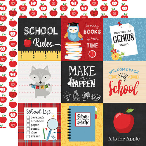 Echo Park - School Rules Collection - 12 x 12 Double Sided Paper - 4 x 4 Journaling Cards