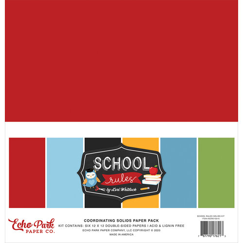 Echo Park - School Rules Collection - 12 x 12 Paper Pack - Solids