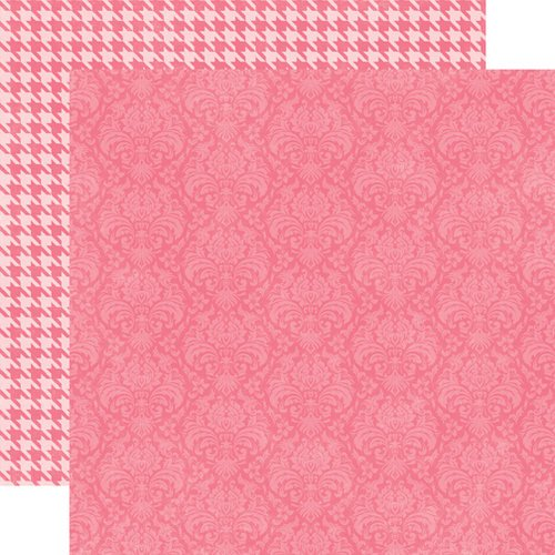 Echo Park - Runway Collection - 12 x 12 Double Sided Paper - Dark Pink Damask
