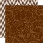 Echo Park - Runway Collection - 12 x 12 Double Sided Paper - Brown Flourish