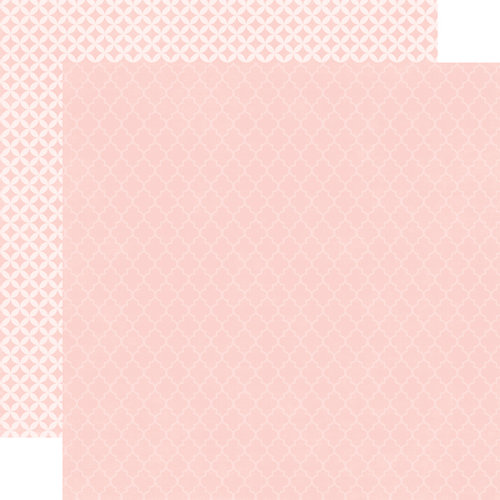Echo Park - Runway Collection - 12 x 12 Double Sided Paper - Light Pink Quatrefoil
