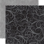 Echo Park - Upscale Collection - 12 x 12 Double Sided Paper - Black Flourish