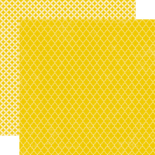 Echo Park - Upscale Collection - 12 x 12 Double Sided Paper - Yellow Quatrefoil