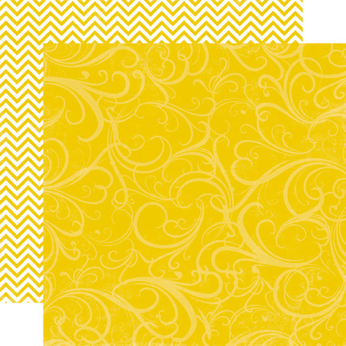 Echo Park - Upscale Collection - 12 x 12 Double Sided Paper - Yellow Flourish