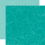 Echo Park - Upscale Collection - 12 x 12 Double Sided Paper - Dark Teal Flourish