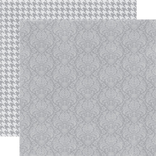 Echo Park - Upscale Collection - 12 x 12 Double Sided Paper - Grey Damask