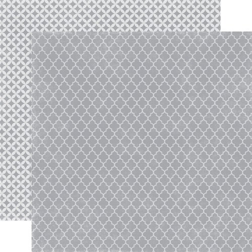 Echo Park - Upscale Collection - 12 x 12 Double Sided Paper - Grey Quatrefoil