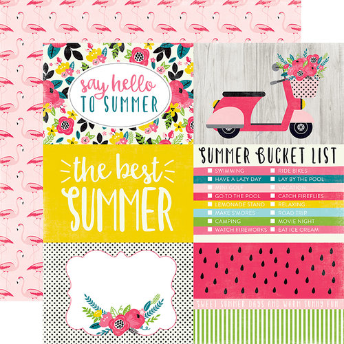 Echo Park - Summer Fun Collection - 12 x 12 Double Sided Paper - 4 x 6 Journaling Cards