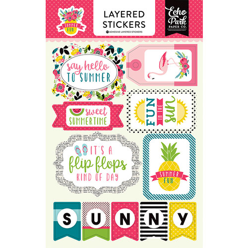 Echo Park - Summer Fun Collection - Layered Cardstock Stickers