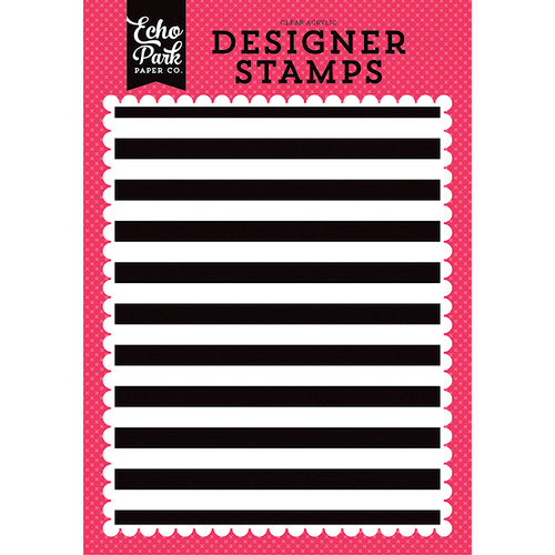 Echo Park - Summer Fun Collection - Clear Photopolymer Stamps - Cabana Stripe A2 Background