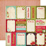 Echo Park - Season's Greetings Collection - Christmas - 12 x 12 Double Sided Paper - Journaling Cards