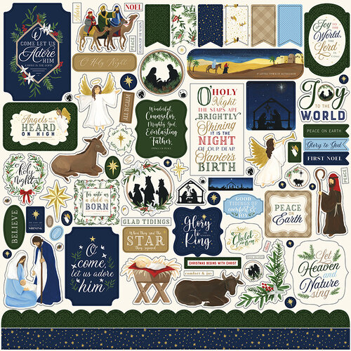 Echo Park - Silent Night Collection - 12 x 12 Cardstock Stickers - Elements