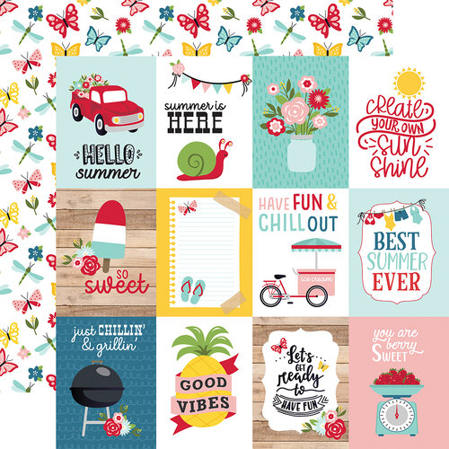 Echo Park - A Slice of Summer Collection - 12 x 12 Double Sided Paper - 3 x 4 Journaling Cards