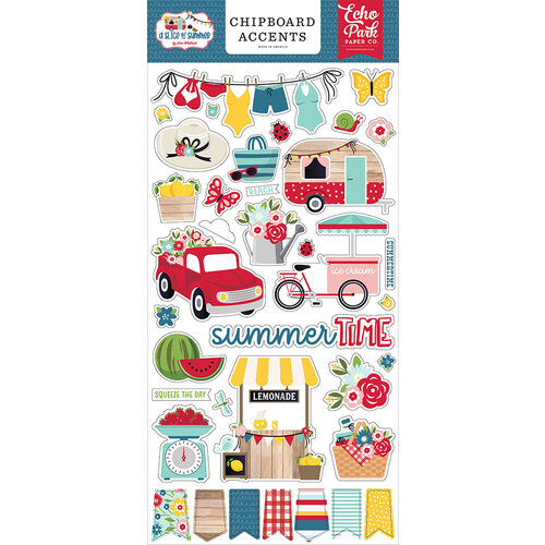 Echo Park - A Slice of Summer Collection - Chipboard Stickers - Accents