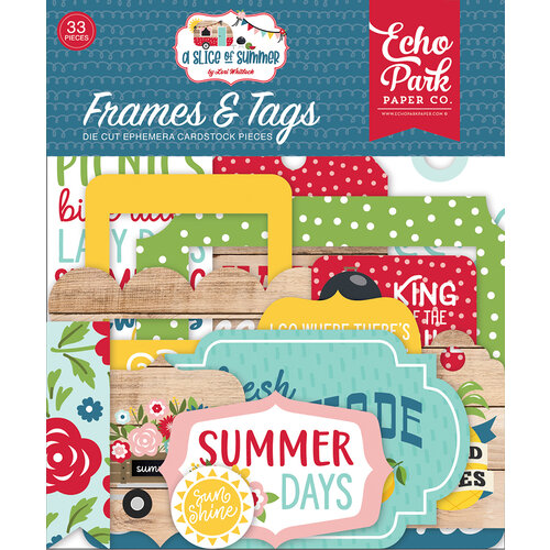 Echo Park - A Slice of Summer Collection - Ephemera - Frames and Tags