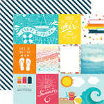 Echo Park - Summer Party Collection - 12 x 12 Double Sided Paper - Journaling Cards