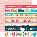 Echo Park - Summer Party Collection - 12 x 12 Double Sided Paper - Borders
