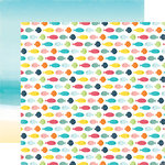 Echo Park - Summer Party Collection - 12 x 12 Double Sided Paper - Swimming Fish