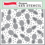 Echo Park - Summer Party Collection - 6 x 6 Stencil - Pineapples