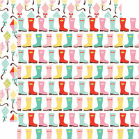 Echo Park - Spring Fling Collection - 12 x 12 Double Sided Paper - Rainboots