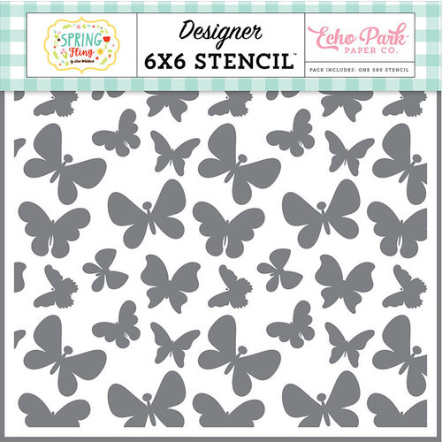 Echo Park - Spring Fling Collection - 6 x 6 Stencil - Bouncing Butterflies