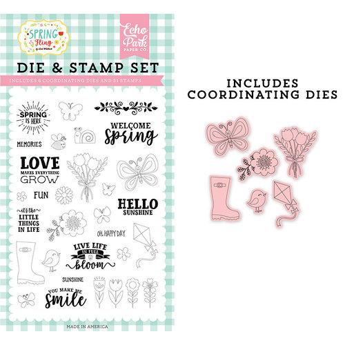 Echo Park - Spring Fling Collection - Designer Dies and Clear Photopolymer Stamp Set - Spring is Here