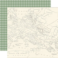 Echo Park - Scenic Route Collection - 12 x 12 Double Sided Paper - Map of Europe