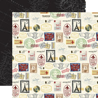 Echo Park - Scenic Route Collection - 12 x 12 Double Sided Paper - Postage Stamps