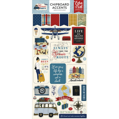 Echo Park - Scenic Route Collection - Chipboard Stickers - Accents