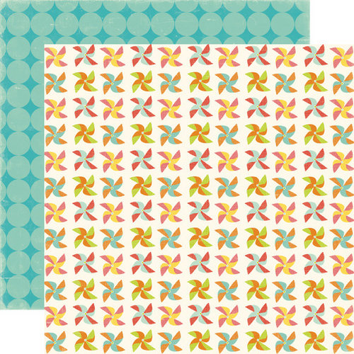 Echo Park - Sweet Summertime Collection - 12 x 12 Double Sided Paper - Pinwheels