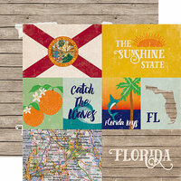 Echo Park - Stateside Collection - 12 x 12 Double Sided Paper - Florida