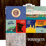 Echo Park - Stateside Collection - 12 x 12 Double Sided Paper - Minnesota