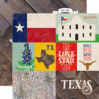 Echo Park - Stateside Collection - 12 x 12 Double Sided Paper - Texas