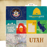 Echo Park - Stateside Collection - 12 x 12 Double Sided Paper - Utah