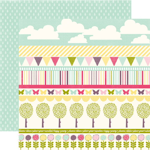 Echo Park - Springtime Collection - 12 x 12 Double Sided Paper - Spring Border Strips, CLEARANCE