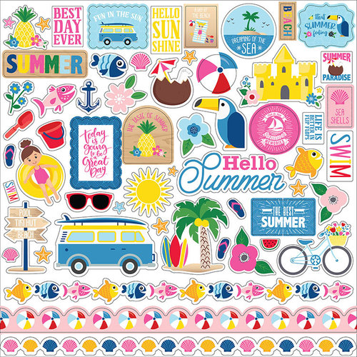 Echo Park - I Love Summer Collection - 12 x 12 Cardstock Stickers - Elements
