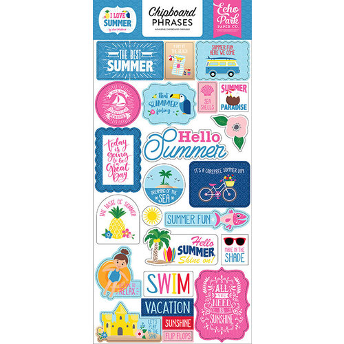 Echo Park - I Love Summer Collection - Chipboard Stickers - Phrases