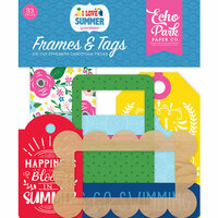 Echo Park - I Love Summer Collection - Ephemera - Frames and Tags