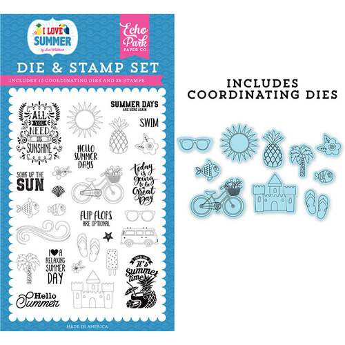Echo Park - I Love Summer Collection - Designer Die and Clear Photopolymer Stamp Set - It