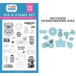 Echo Park - I Love Summer Collection - Designer Die and Clear Photopolymer Stamp Set - It's Summer Time