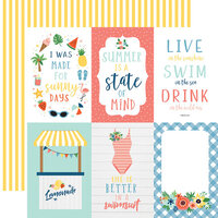 Echo Park - Summertime Collection - 12 x 12 Double Sided Paper - 4 x 6 Journaling Cards