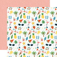 Echo Park - Summertime Collection - 12 x 12 Double Sided Paper - Sunshiny Day