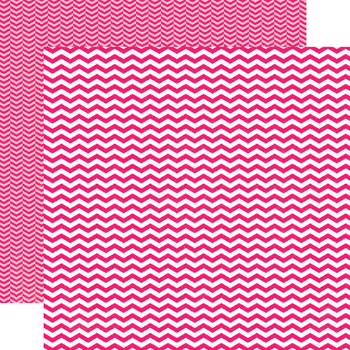 Echo Park - Pretty in Pink Collection - 12 x 12 Double Sided Paper - Pink Chevron