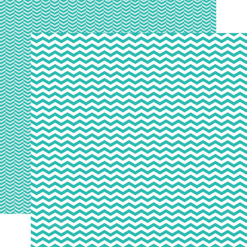 Echo Park - Totally Teal Collection - 12 x 12 Double Sided Paper - Teal Chevron