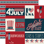 Echo Park - Stars and Stripes Collection - 12 x 12 Double Sided Paper - Journaling Cards